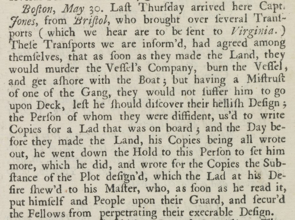 Convicts Sent to Virginia