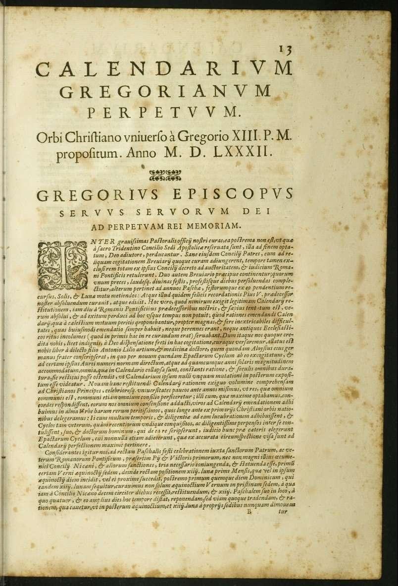 Papal Bull Concerning Gregorian Calendar
