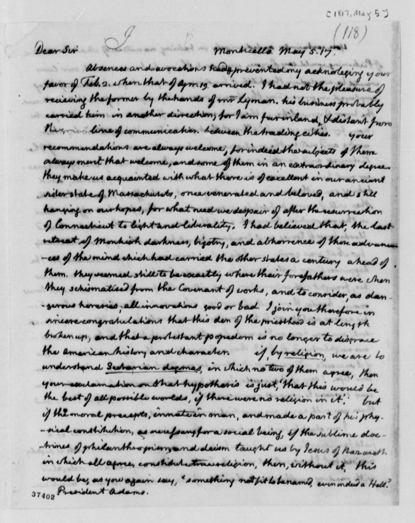 Letter from Thomas Jefferson to John Adams (May 5