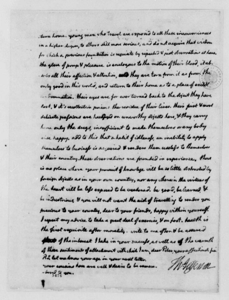Letter from Thomas Jefferson to Peter Carr (August 10