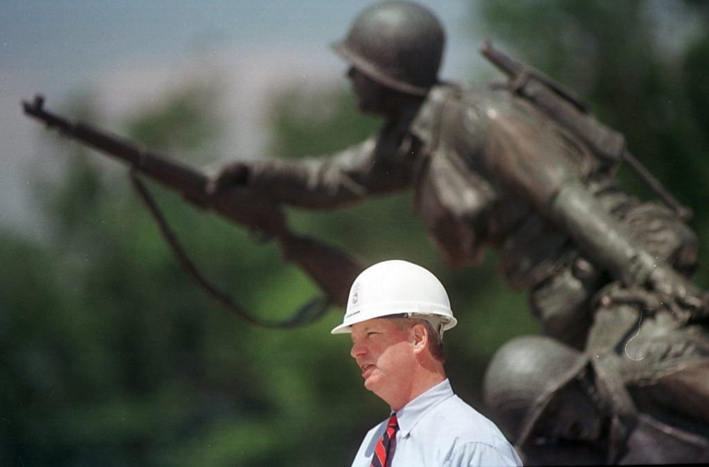 Richard Burrow at the National D-Day Memorial construction site