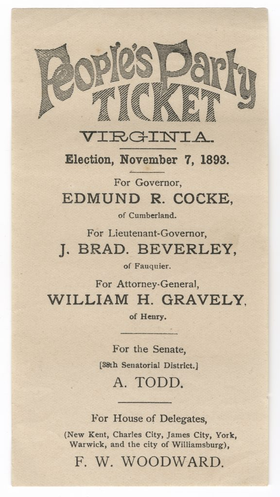 Candidates for the People's Party of Virginia (1893)