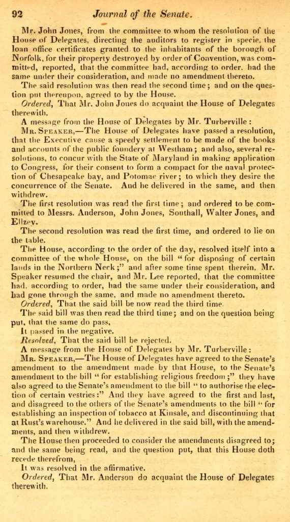 Journal of the Senate of the Commonwealth of Virginia (1785—1786)