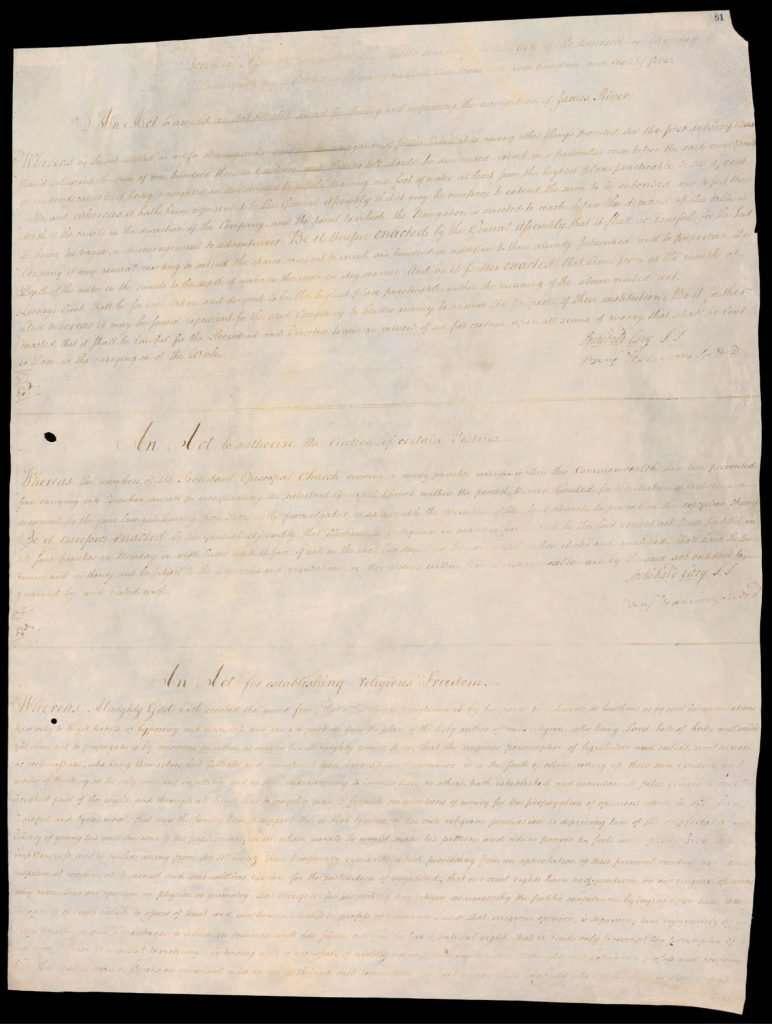 An Act for establishing religious Freedom