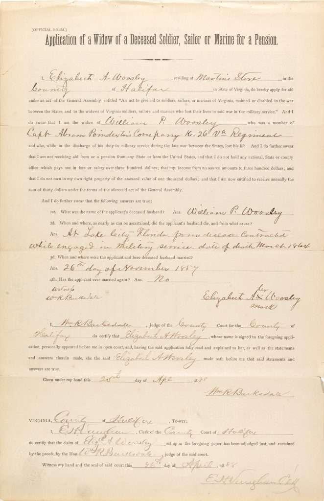 Confederate Pension Application