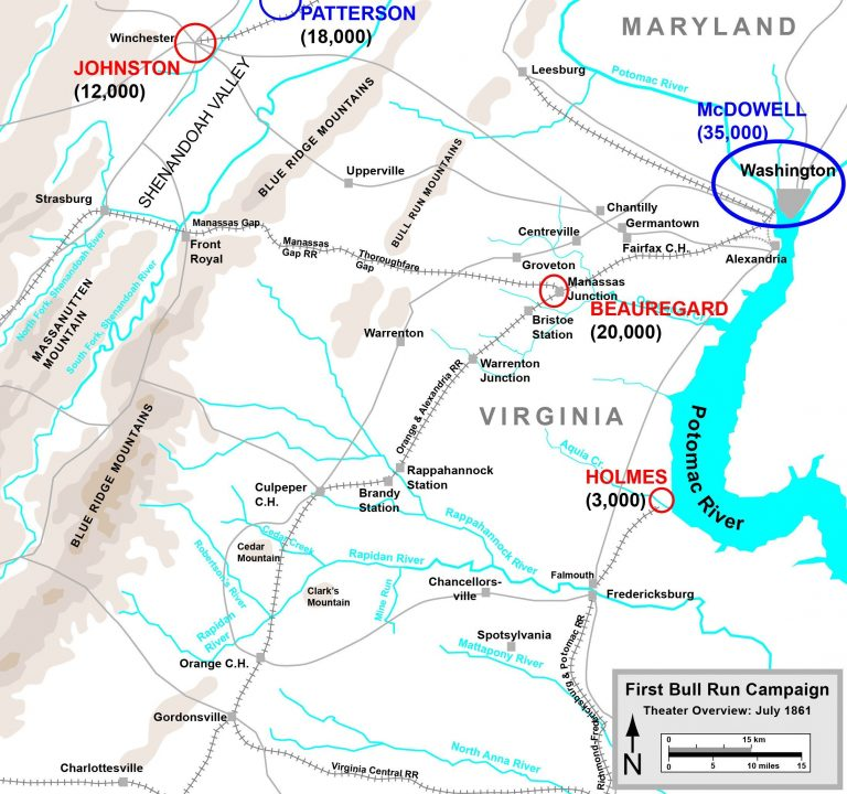 Map of the First Manassas (or Bull Run) Campaign