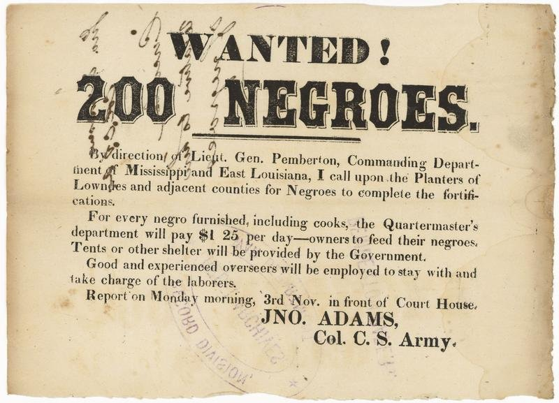 Wanted! 200 Negroes.