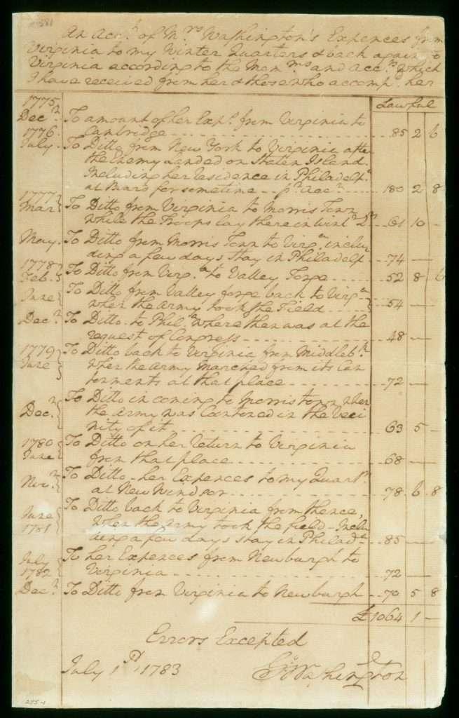 Martha Washington's Wartime Expenses