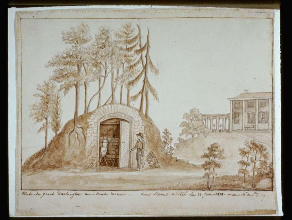 """Tombe du grand Washington au Mount Vernon (""""Tomb of the Great Washington at Mount Vernon"""")"""