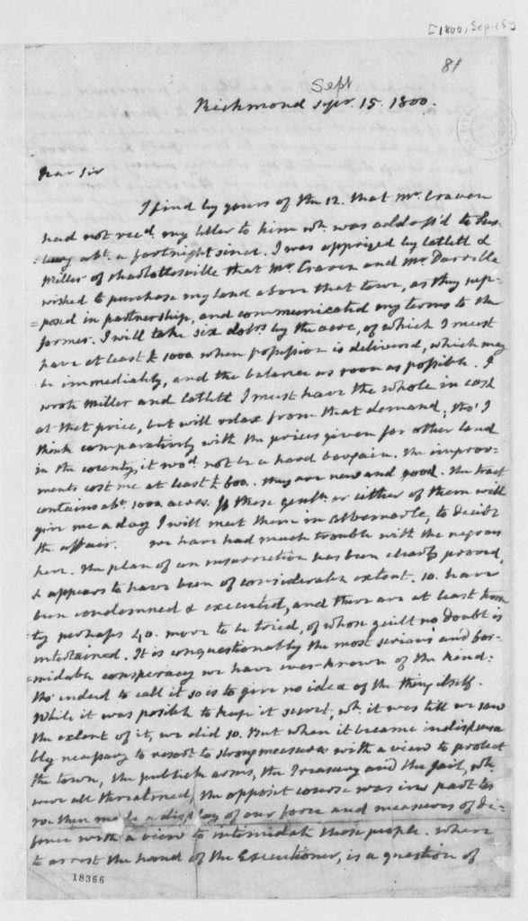 Letter from James Monroe to Thomas Jefferson (September 15