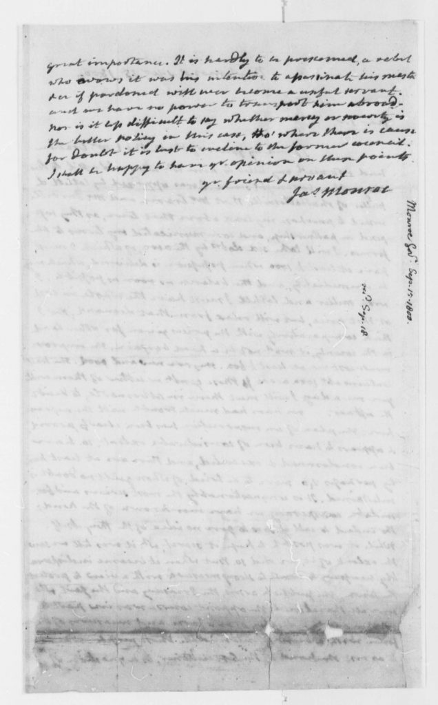 Letter from James Monroe to Thomas Jefferson (September 15