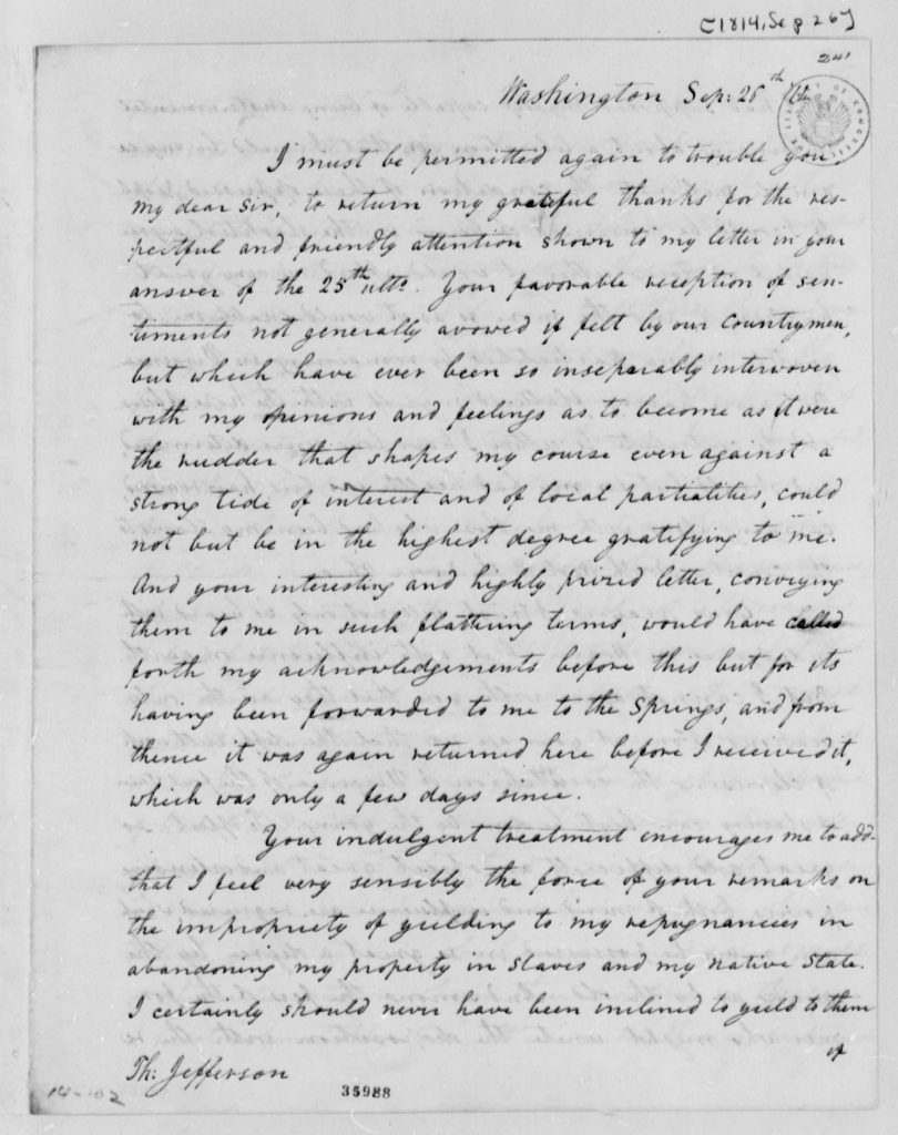 Letter from Edward Coles to Thomas Jefferson (September 26