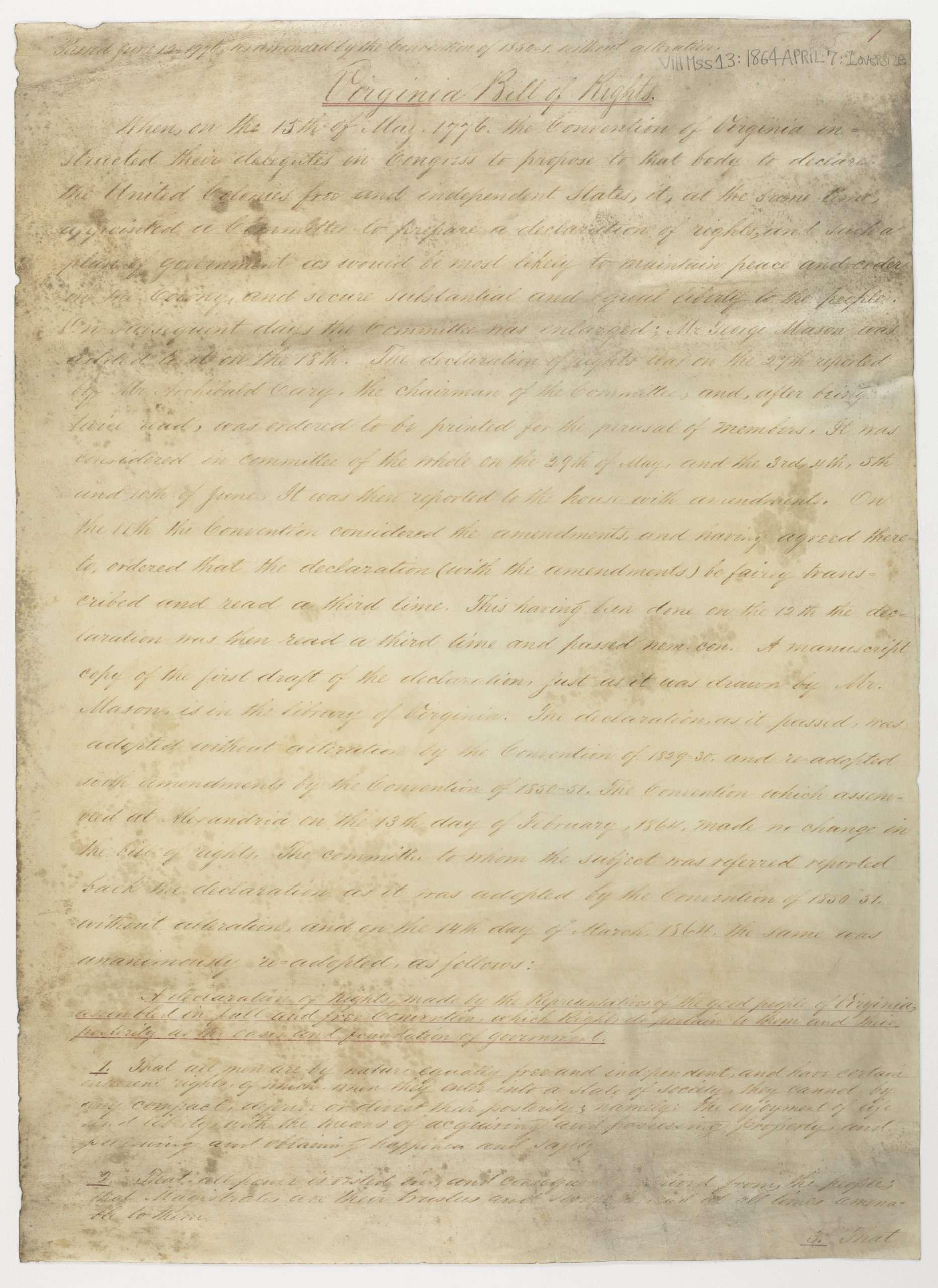 Virginia Bill of Rights (1864)