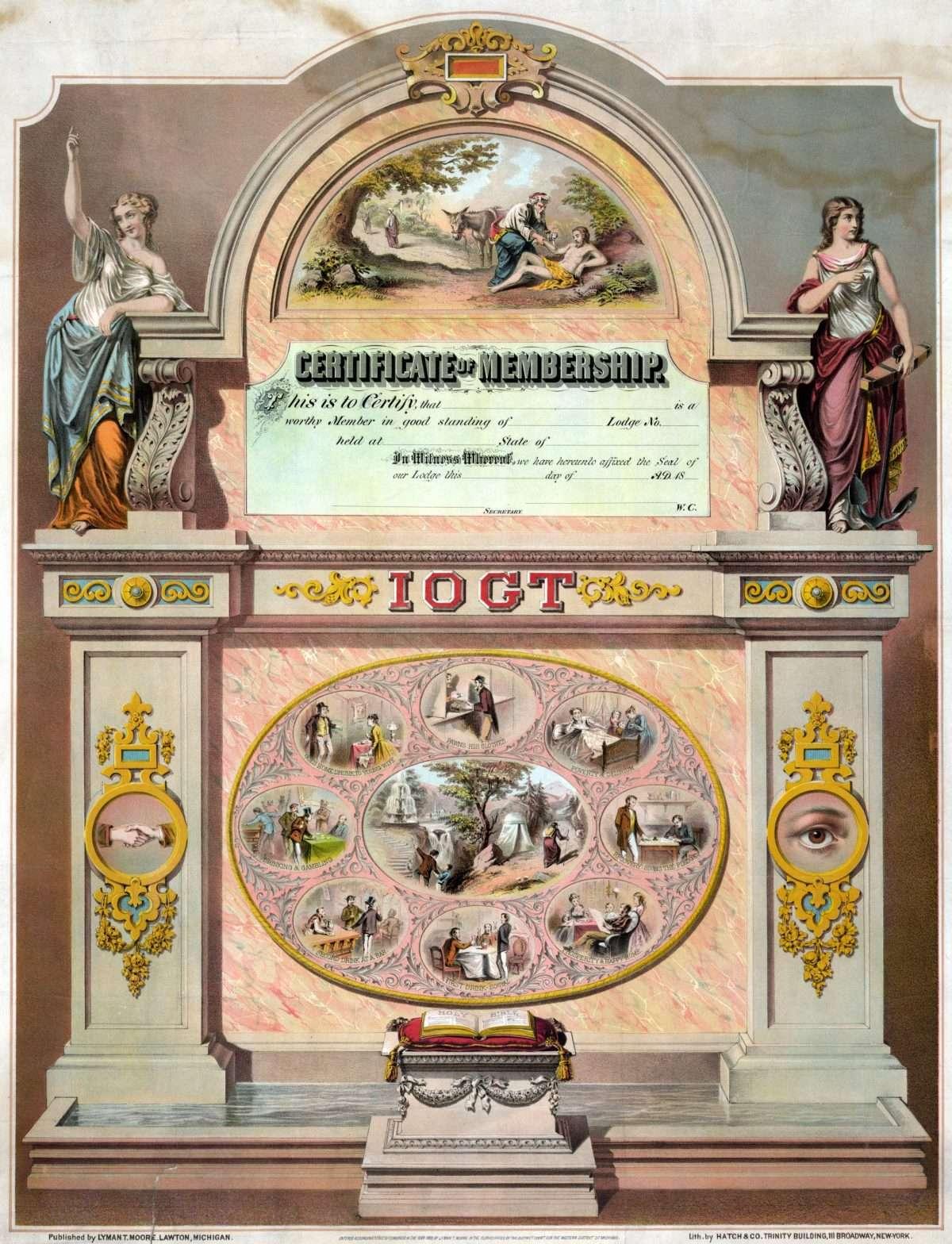 Certificate of Membership in Temperance League