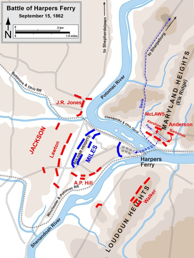 Map of the Battle of Harpers Ferry