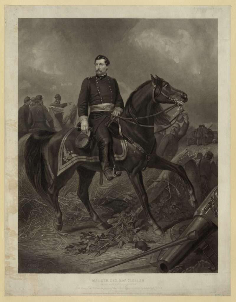 Maj. Gen. Geo. B. McClellan On the Battle Field of Antietam
