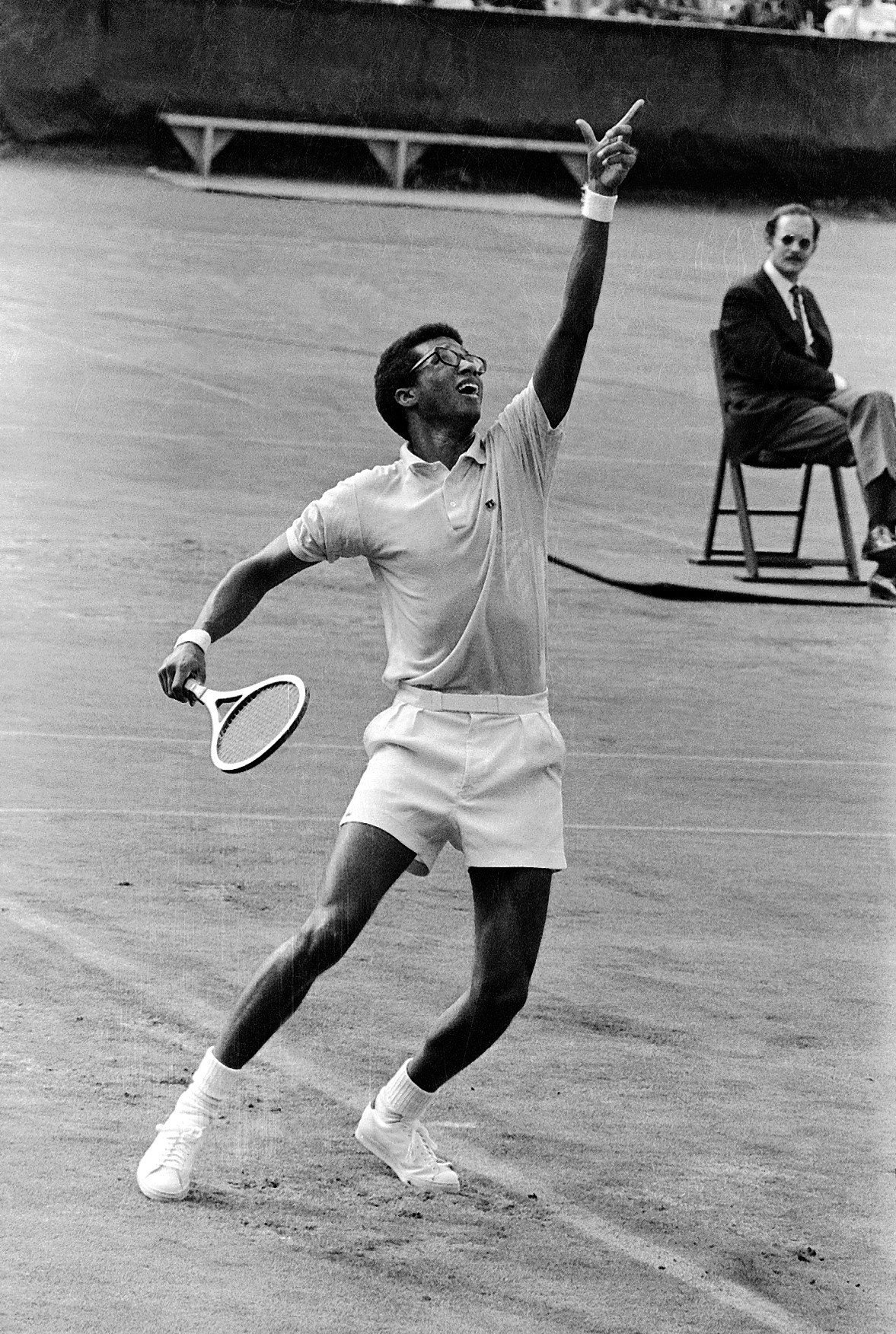 Arthur Ashe Playing in a Tournament