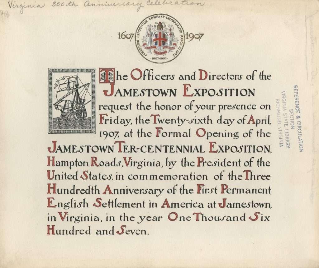 Invitation to the Jamestown Ter-Centennial Exposition