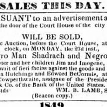 Advertisement for Auction of Shadrach Minkins