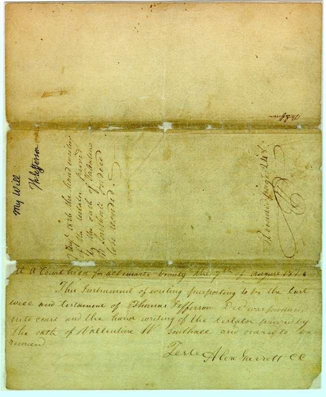 Will and Codicil of Thomas Jefferson (1826)