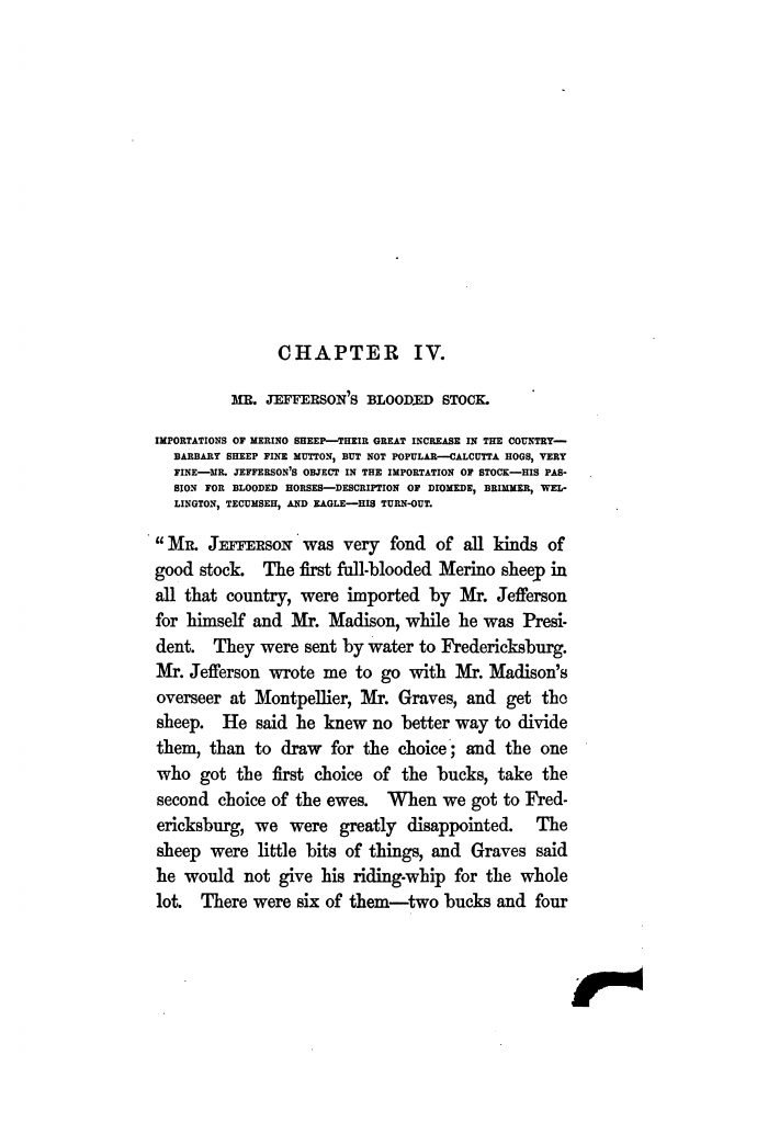Mr. Jefferson's Blooded Stock; an excerpt from The Private Life of Thomas Jefferson by Hamilton W. Pierson (1862)
