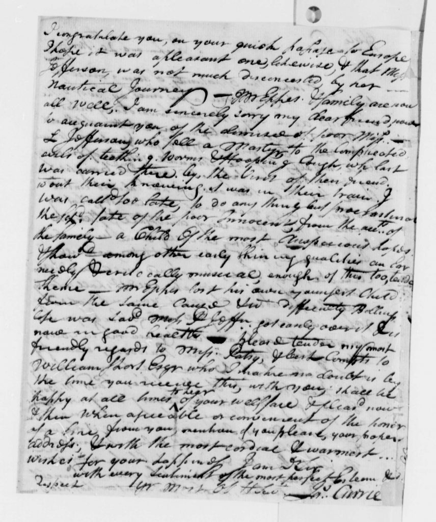Letter from James Currie to Thomas Jefferson (November 20