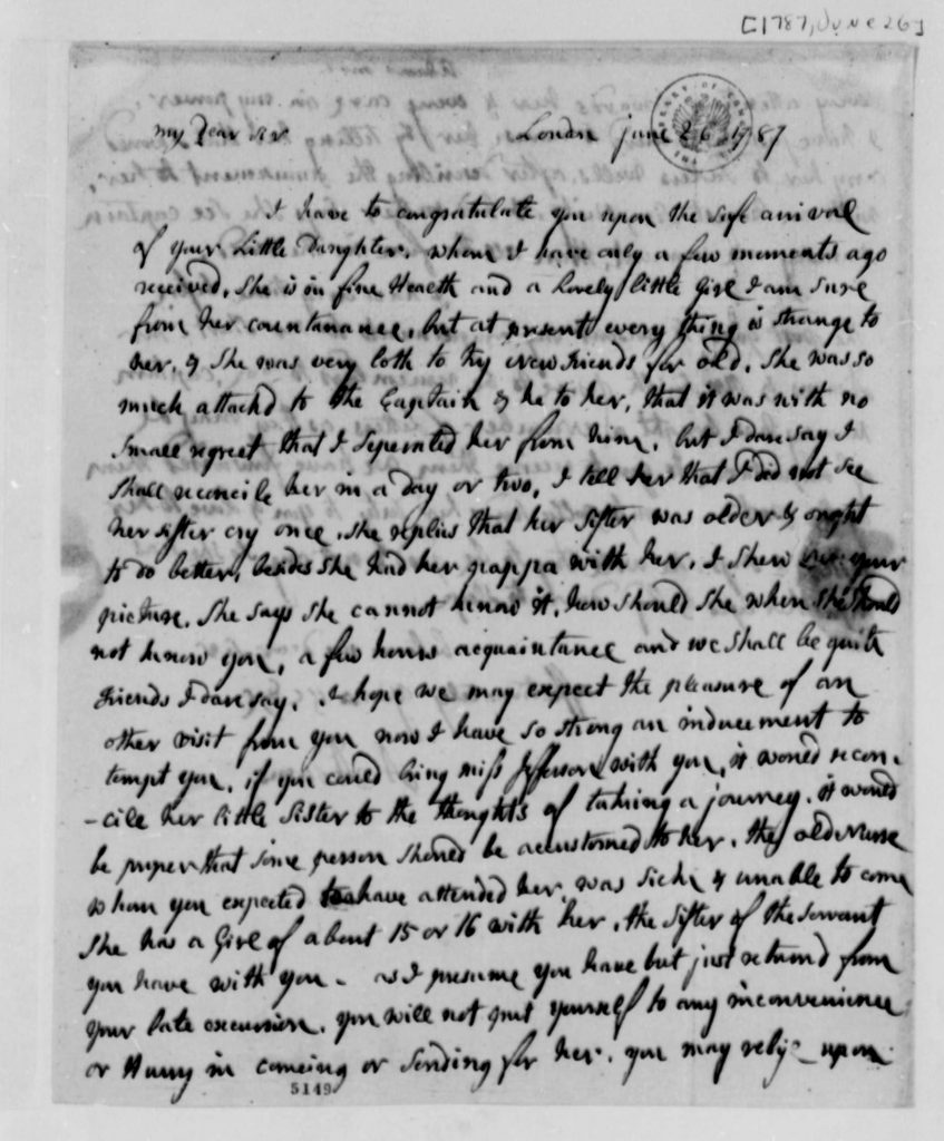 Letter from Abigail Adams to Thomas Jefferson (June 26