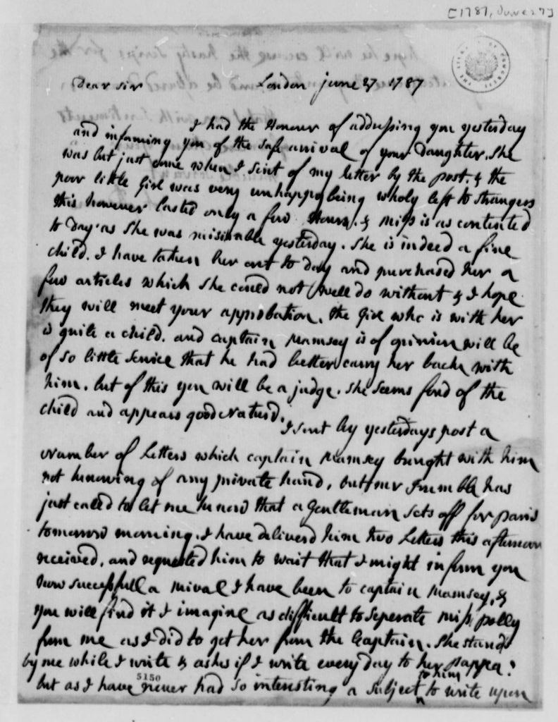 Letter from Abigail Adams to Thomas Jefferson (June 27