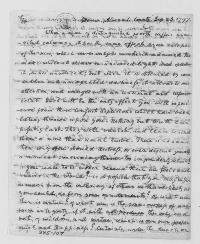 Letter from John Langhorne (Peter Carr) to George Washington (September 25