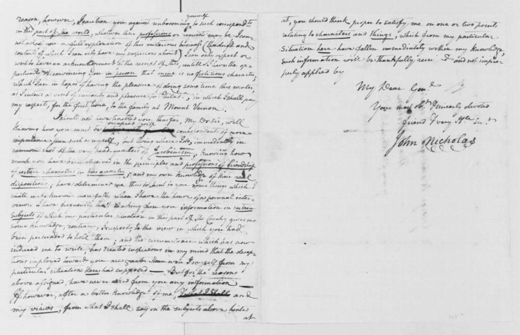 Letter from John Nicholas to George Washington (November 18