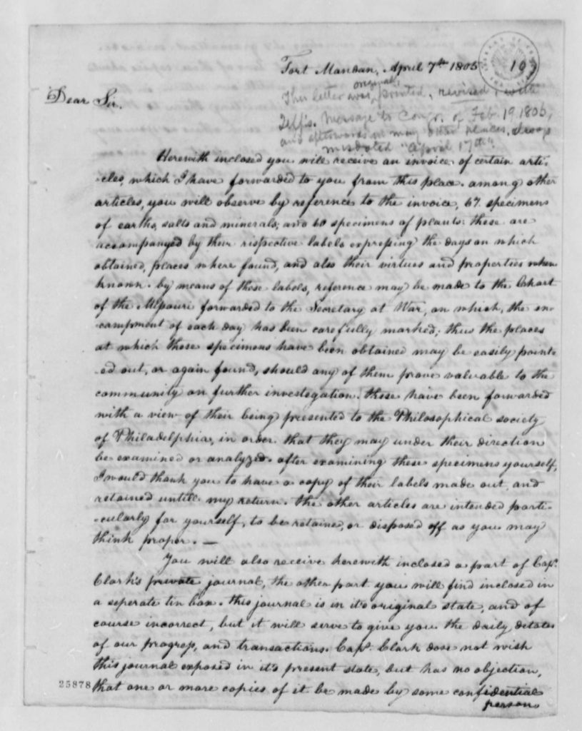 Meriwether Lewis's Report to Thomas Jefferson (April 7