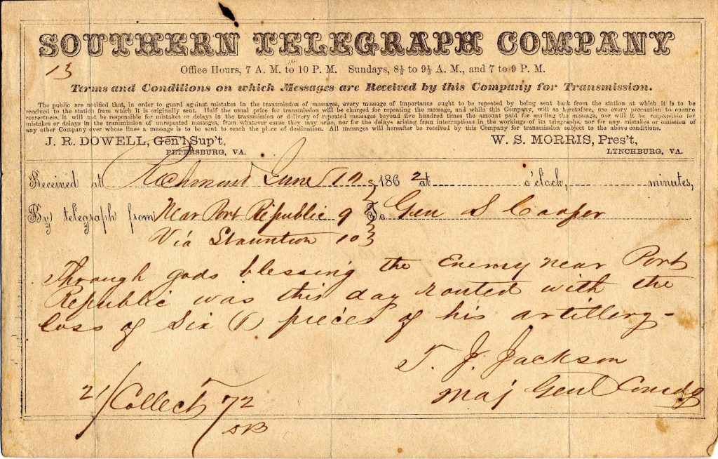 Telegram of Jackson's Victory at Port Republic