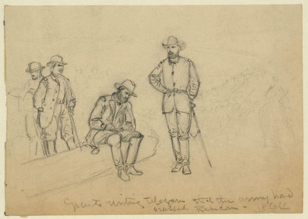 Grant Writing Telegram That the Army Had Crossed the Rapidan