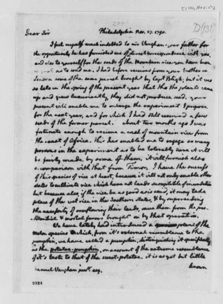 Letter from Thomas Jefferson to Samuel Vaughan Jr. (November 27