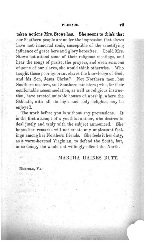 Preface; an excerpt from Antifanaticism: A Tale of the South by Martha Haines Butt (1853)