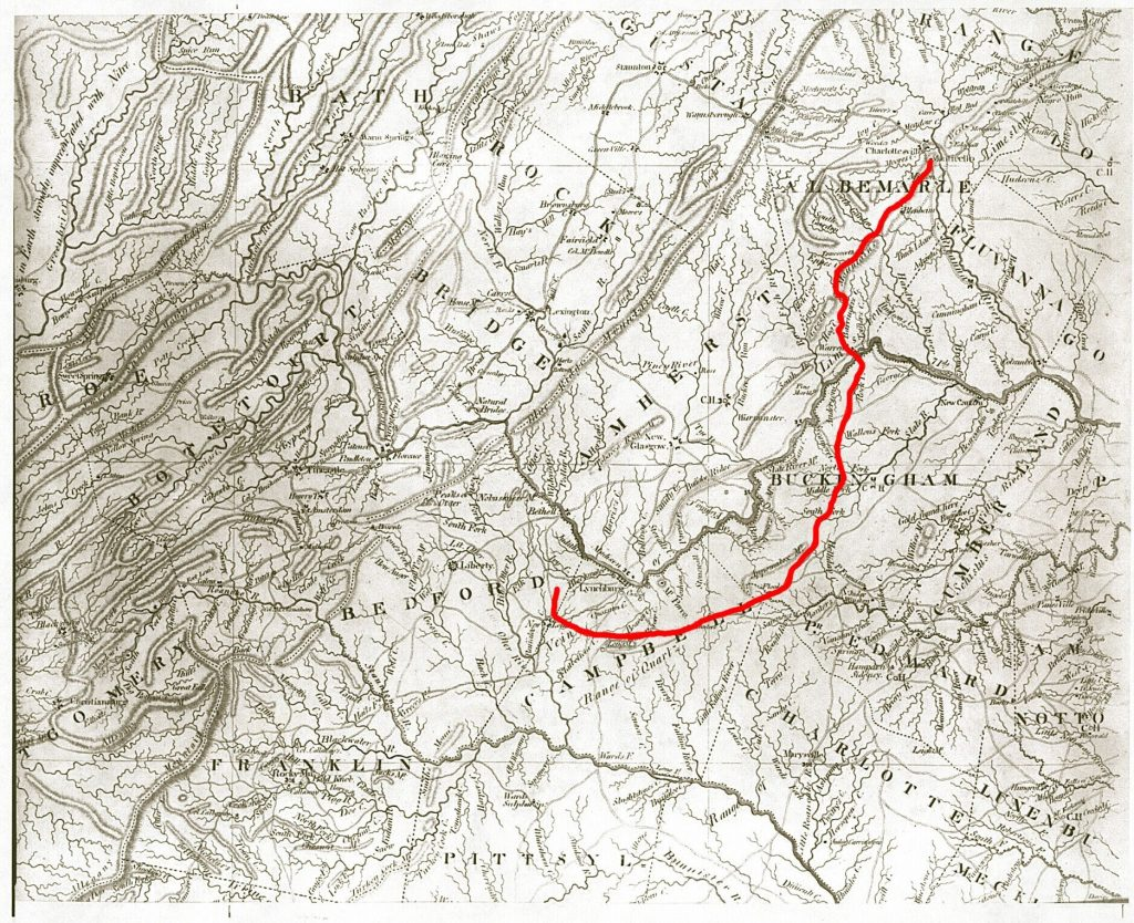 Route from Monticello to Poplar Forest