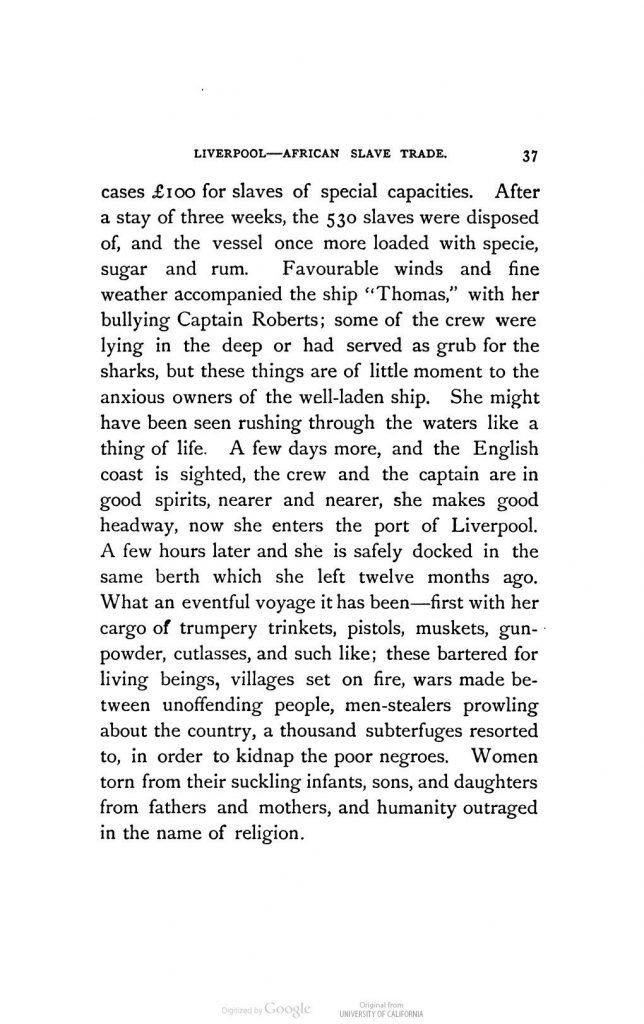 """The Ship """"Thomas""""; chapter 7 of Liverpool and Slavery by """"a Genuine 'Dicky Sam'"""" (1884)"""