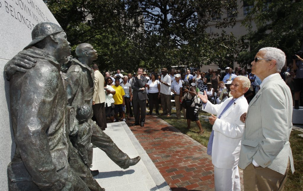 Nikki Giovanni and Julian Bond at the Virginia Civil Rights Memorial Dedication