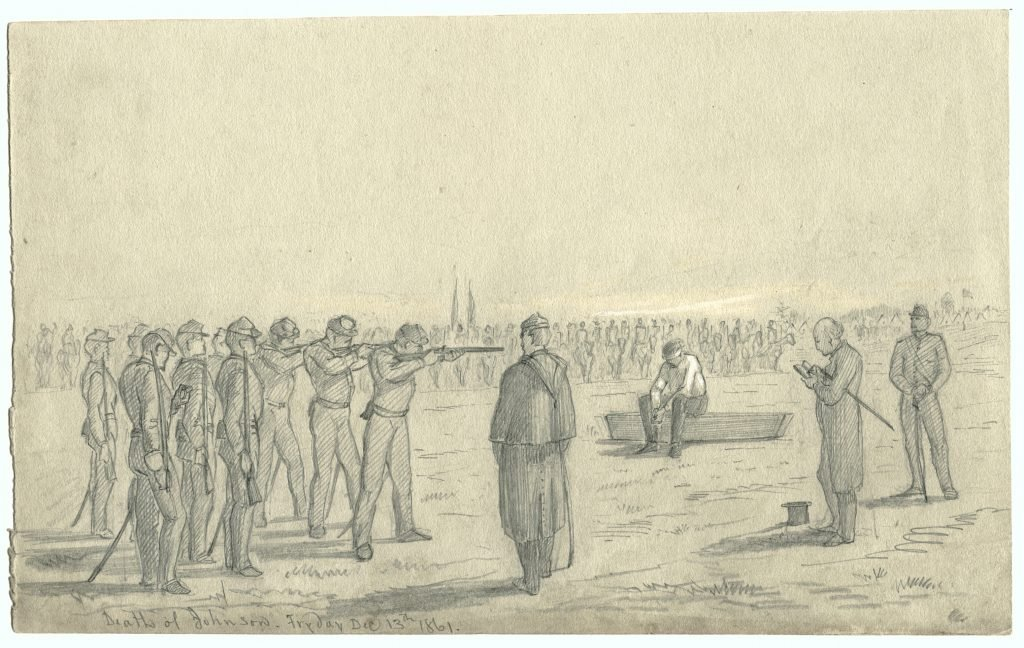 Firing squad aiming at blindfolded prisoner seated atop his coffin