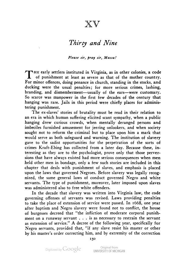 """Chapter 15: """"Thirty and Nine""""; an excerpt from The Negro in Virginia (1940)"""