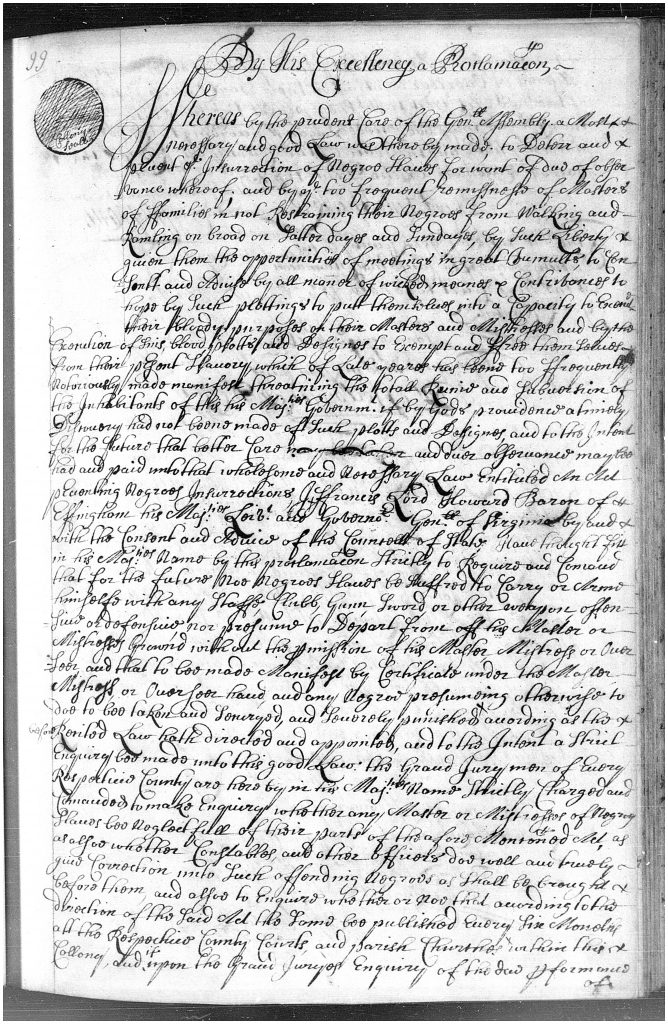 Governor Effingham's 1687 Proclamation