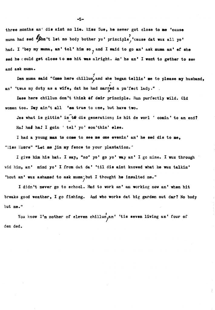 Interview of Mrs. Minnie Fulkes (1937)