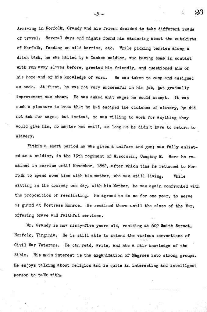 Interview of Mr. Charles Grandy (1937)