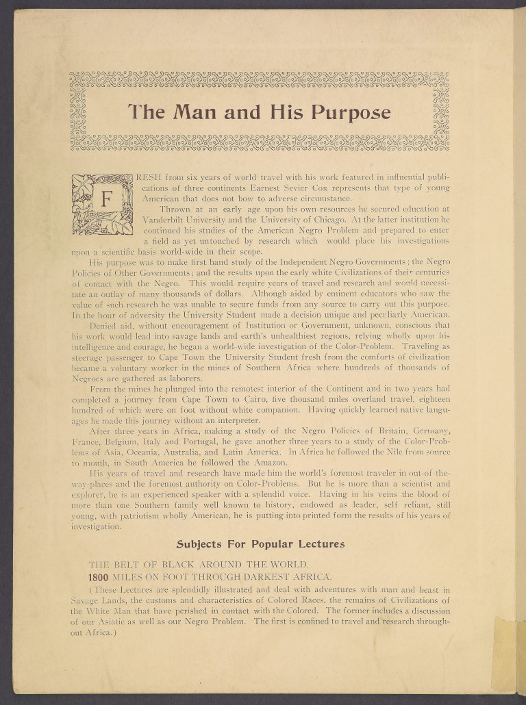 The Man and His Purpose