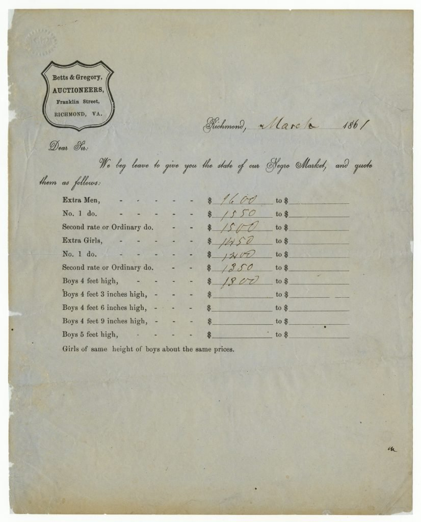 Auction Prices for Slaves