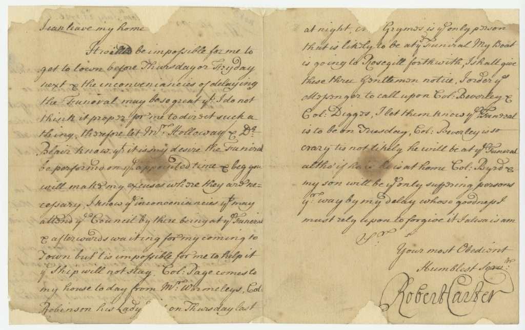 """Letter from Robert """"King"""" Carter"""
