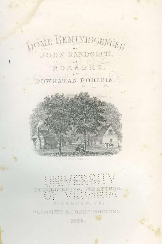 Home Reminiscences of John Randolph of Roanoke