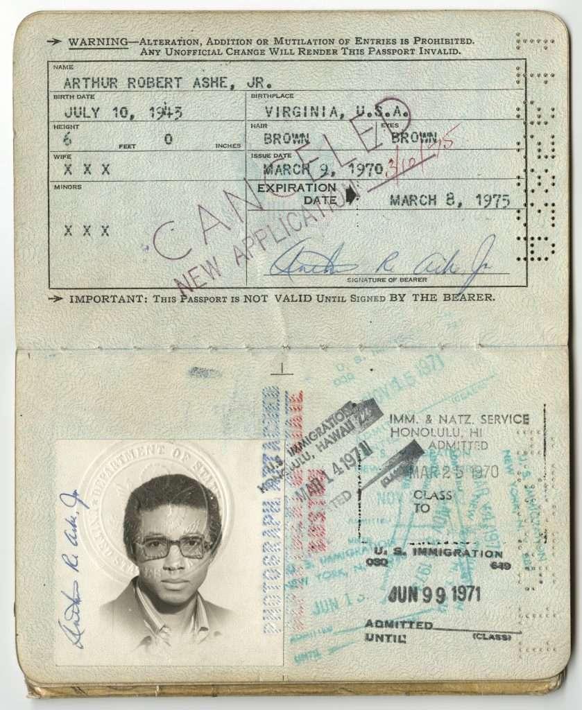 Arthur Ashe's Passport