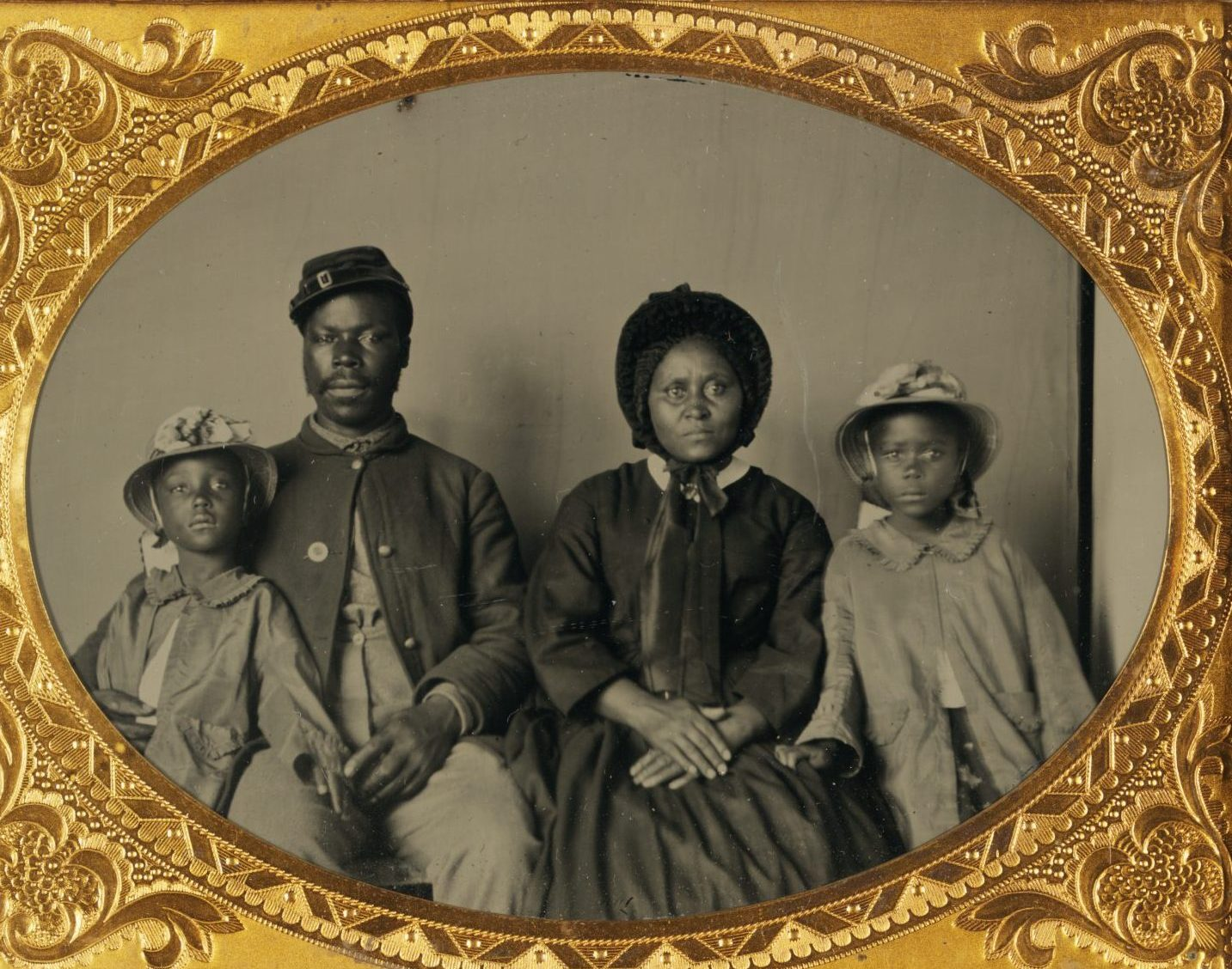 Black Union Soldier and Family