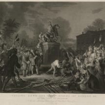 """Pulling Down the Statue of George III by the """"Sons of Freedom"""""""